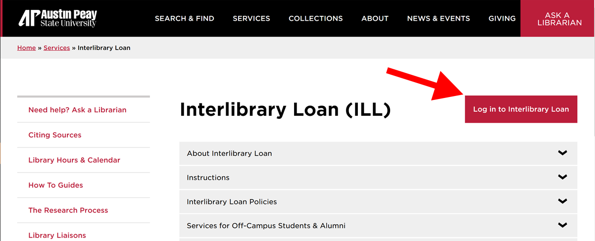 image of interlibrary loan guide with an arrow pointing towards log in button